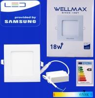 Էլ.պլաֆոն LED Wellmax քառակուսի 18W 6500K